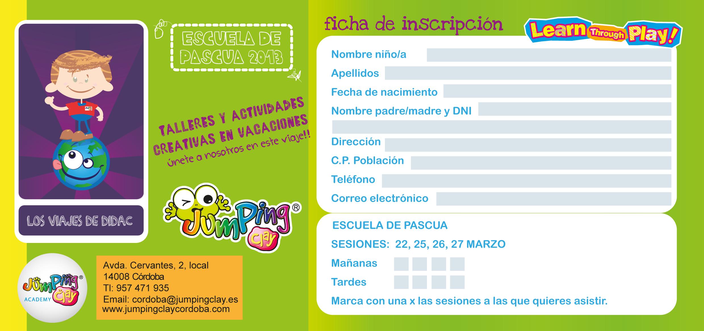 Inscripci n talleres escuela de semana santa 2013 for Actividades para jardin infantil